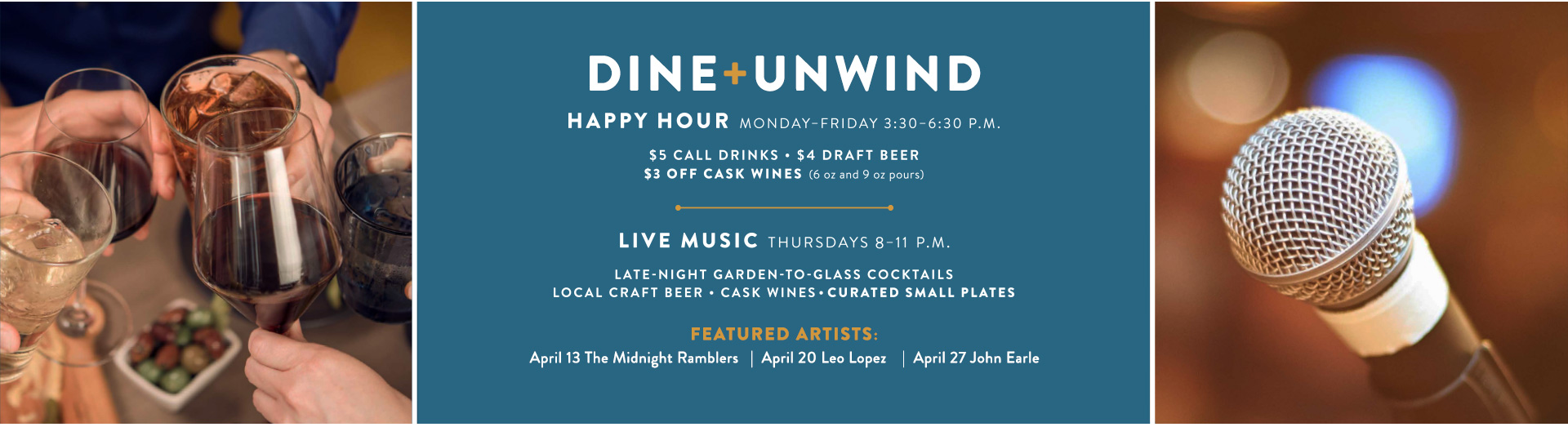 Happy Hour M-F: 3:30-6:30 PM | Late Nights: Thu 9-11:30 PM | View Menu