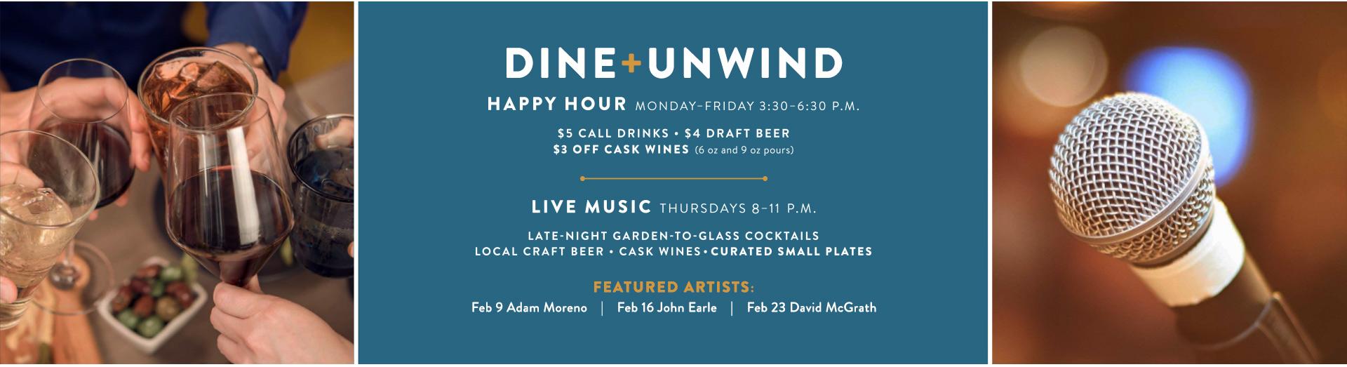 Happy Hour M-F: 3:30-6:30 PM | Late Nights: Thu 9-11:30 PM | View Menu