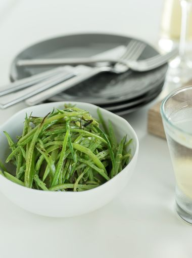 Green Beans on a White Tabletop