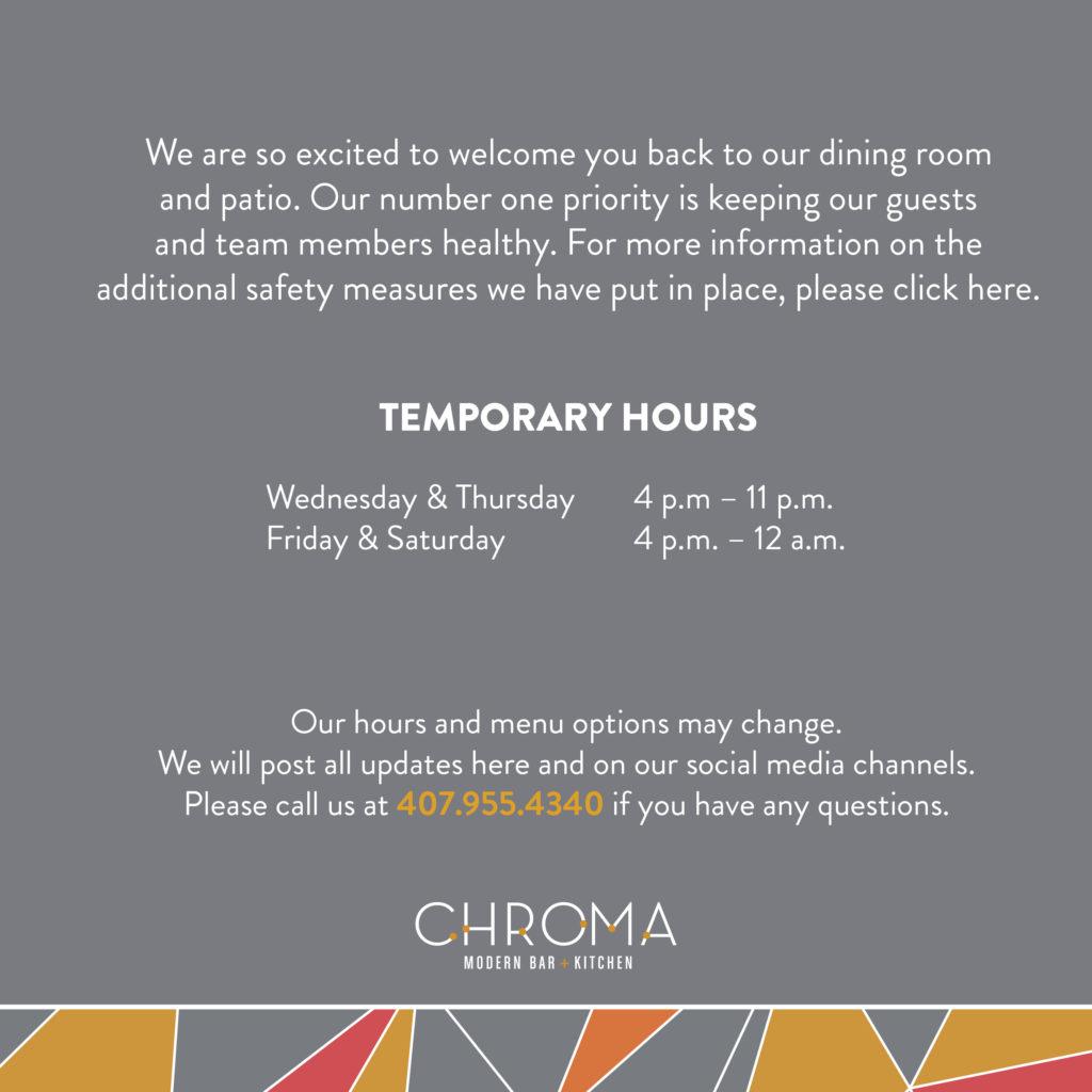 Chroma Temporary Hours